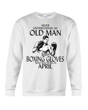 Never Underestimate Old Man Boxing Gloves April Crewneck Sweatshirt thumbnail