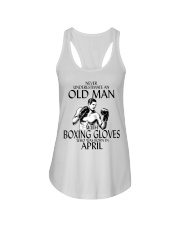 Never Underestimate Old Man Boxing Gloves April Ladies Flowy Tank thumbnail