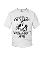 Never Underestimate Old Man Boxing Gloves April Youth T-Shirt thumbnail