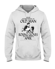 Never Underestimate Old Man Boxing Gloves April Hooded Sweatshirt thumbnail