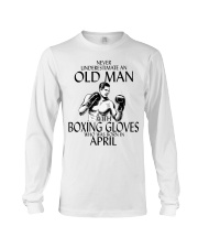 Never Underestimate Old Man Boxing Gloves April Long Sleeve Tee thumbnail