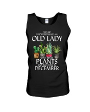 Never Underestimate Old Lady Love Plants December Unisex Tank thumbnail