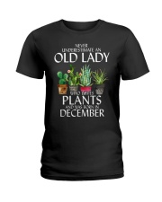 Never Underestimate Old Lady Love Plants December Ladies T-Shirt thumbnail