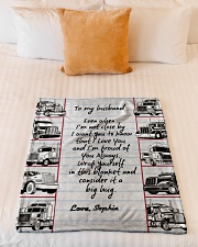 """Trucker to my husband Personalized Small Fleece Blanket - 30"""" x 40"""" aos-coral-fleece-blanket-30x40-lifestyle-front-04"""