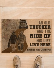 "Doormat-An Old Trucker And The Ride Personalized Doormat 22.5"" x 15""  aos-doormat-22-5x15-lifestyle-front-02"