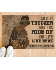 "Doormat-An Old Trucker And The Ride Personalized Doormat 22.5"" x 15""  aos-doormat-22-5x15-lifestyle-front-03"