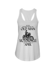 Never Underestimate Old Man Motorcycle April Ladies Flowy Tank thumbnail