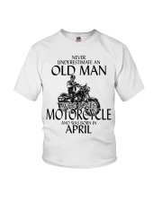 Never Underestimate Old Man Motorcycle April Youth T-Shirt thumbnail