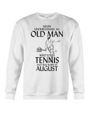 Never Underestimate Old Man Loves Tennis August Crewneck Sweatshirt thumbnail