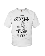 Never Underestimate Old Man Loves Tennis August Youth T-Shirt thumbnail