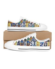 AUGUST 20 LICENSE PLATES Women's Low Top White Shoes inside-left-outside-left
