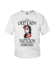 Never Underestimate Old Lady Tattoos February Youth T-Shirt thumbnail