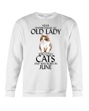 Never Underestimate Old Lady Cat June Crewneck Sweatshirt thumbnail