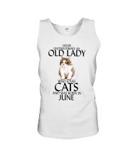 Never Underestimate Old Lady Cat June Unisex Tank thumbnail