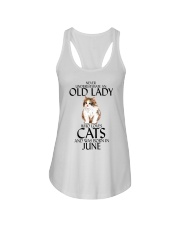 Never Underestimate Old Lady Cat June Ladies Flowy Tank thumbnail