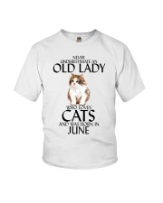 Never Underestimate Old Lady Cat June Youth T-Shirt thumbnail