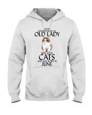 Never Underestimate Old Lady Cat June Hooded Sweatshirt thumbnail