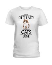 Never Underestimate Old Lady Cat June Ladies T-Shirt thumbnail