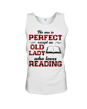 No One Is Perfect Except An Old Lady Reading Unisex Tank thumbnail