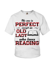 No One Is Perfect Except An Old Lady Reading Youth T-Shirt thumbnail