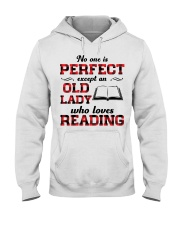 No One Is Perfect Except An Old Lady Reading Hooded Sweatshirt thumbnail