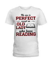No One Is Perfect Except An Old Lady Reading Ladies T-Shirt thumbnail