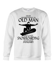 Never Underestimate Old Man Snowboarding January Crewneck Sweatshirt thumbnail