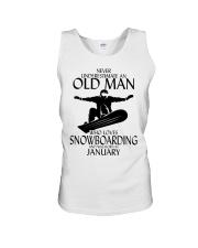 Never Underestimate Old Man Snowboarding January Unisex Tank thumbnail