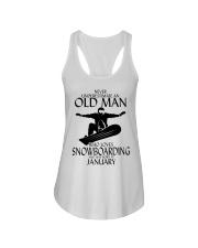 Never Underestimate Old Man Snowboarding January Ladies Flowy Tank thumbnail