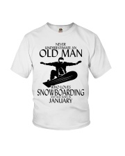 Never Underestimate Old Man Snowboarding January Youth T-Shirt thumbnail