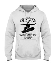 Never Underestimate Old Man Snowboarding January Hooded Sweatshirt thumbnail