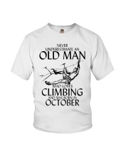 Never Underestimate Old Man Climbing  October Youth T-Shirt thumbnail