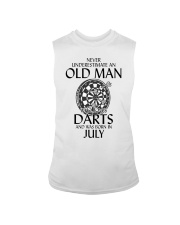 Never Underestimate An Old Man Loves Darts July Sleeveless Tee thumbnail