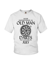 Never Underestimate An Old Man Loves Darts July Youth T-Shirt thumbnail