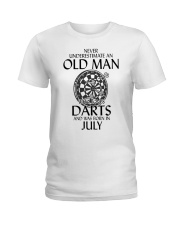 Never Underestimate An Old Man Loves Darts July Ladies T-Shirt thumbnail
