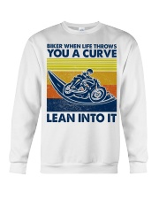Biker When Life Throws You A Curve Crewneck Sweatshirt thumbnail