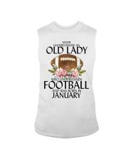 Never Underestimate Old Lady Football January Sleeveless Tee thumbnail