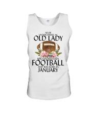 Never Underestimate Old Lady Football January Unisex Tank thumbnail
