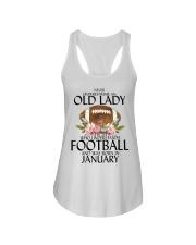Never Underestimate Old Lady Football January Ladies Flowy Tank thumbnail