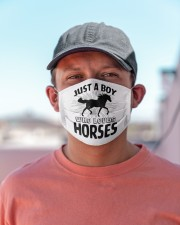 Just a boy who loves horses funny horse  Cloth face mask aos-face-mask-lifestyle-06