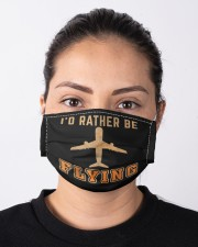 Vintage retro i'd rather be flying funny  Cloth face mask aos-face-mask-lifestyle-01