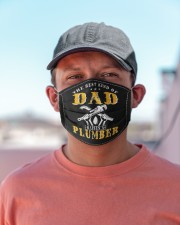 best kind of dad raises a plumber funny  Cloth face mask aos-face-mask-lifestyle-06