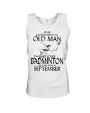 Never Underestimate Old Man Badminton September Unisex Tank thumbnail