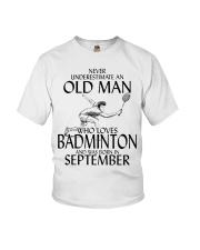 Never Underestimate Old Man Badminton September Youth T-Shirt thumbnail