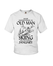 An Old Man Loves Skiing January Youth T-Shirt thumbnail
