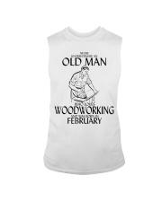 Never Underestimate Old Man Woodworking February Sleeveless Tee thumbnail