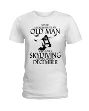 Never Underestimate Old Man Skydiving December Ladies T-Shirt thumbnail