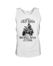Never Underestimate Old Man ATVs October Unisex Tank tile