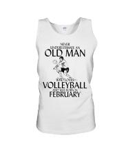 Never Underestimate Old Man Volleyball February Unisex Tank thumbnail