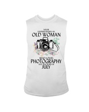 Never Underestimate Old Woman Photography July Sleeveless Tee thumbnail